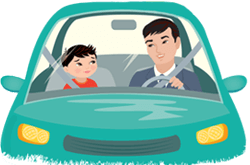 Dad talking to son in the car