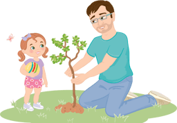 Dad and daughter planting a tree