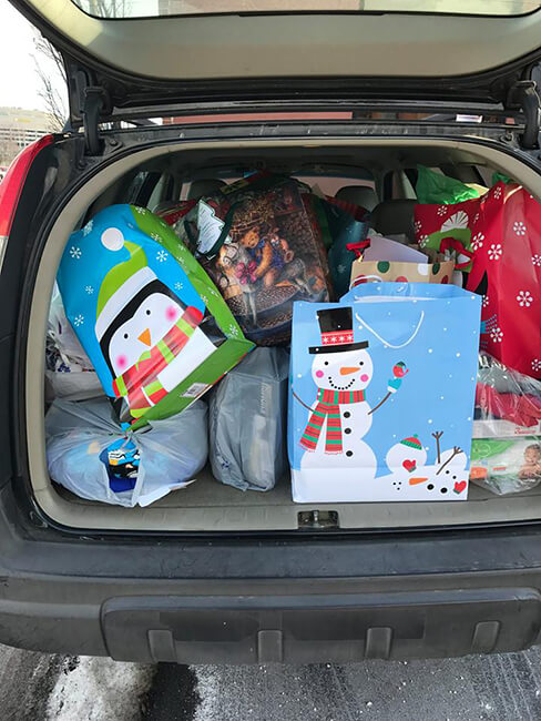 Gifts in the back of a vehicle