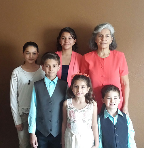 Mercedes and her five grandchildren (left to right): Valentina, 12; Augustine, 11; Leeleeya, 14; Marina, 8; and Paul, 5