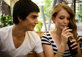 Teen couple on a date